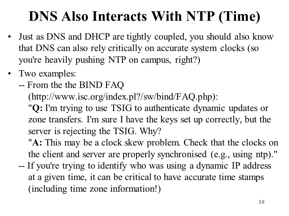 DNS Also Interacts With NTP (Time)