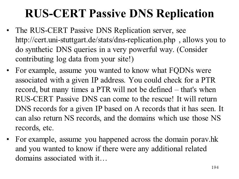 RUS-CERT Passive DNS Replication