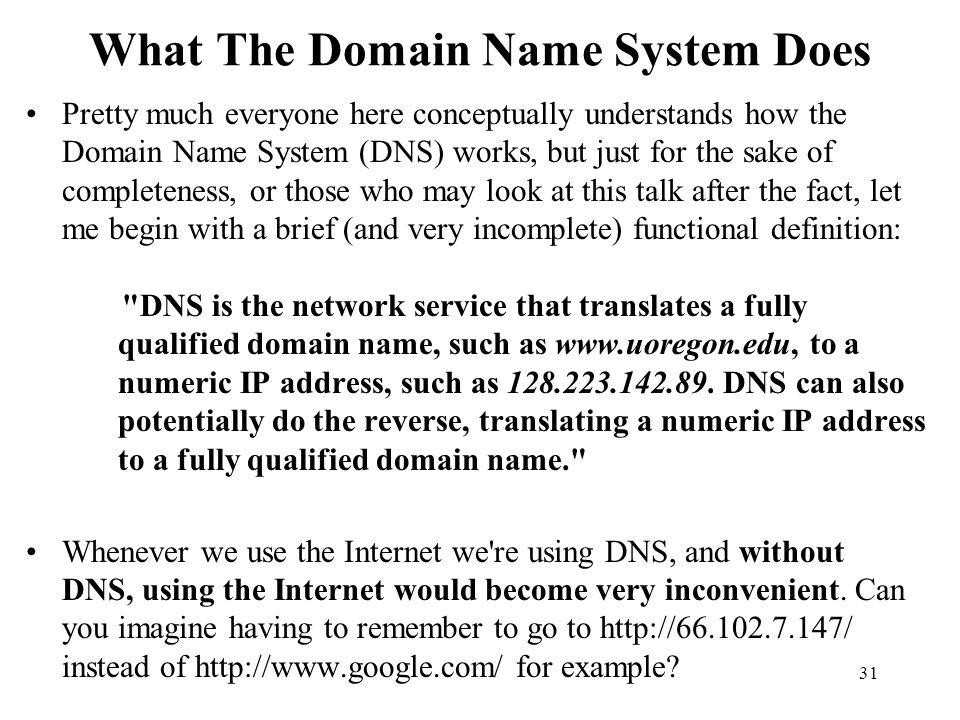 What The Domain Name System Does