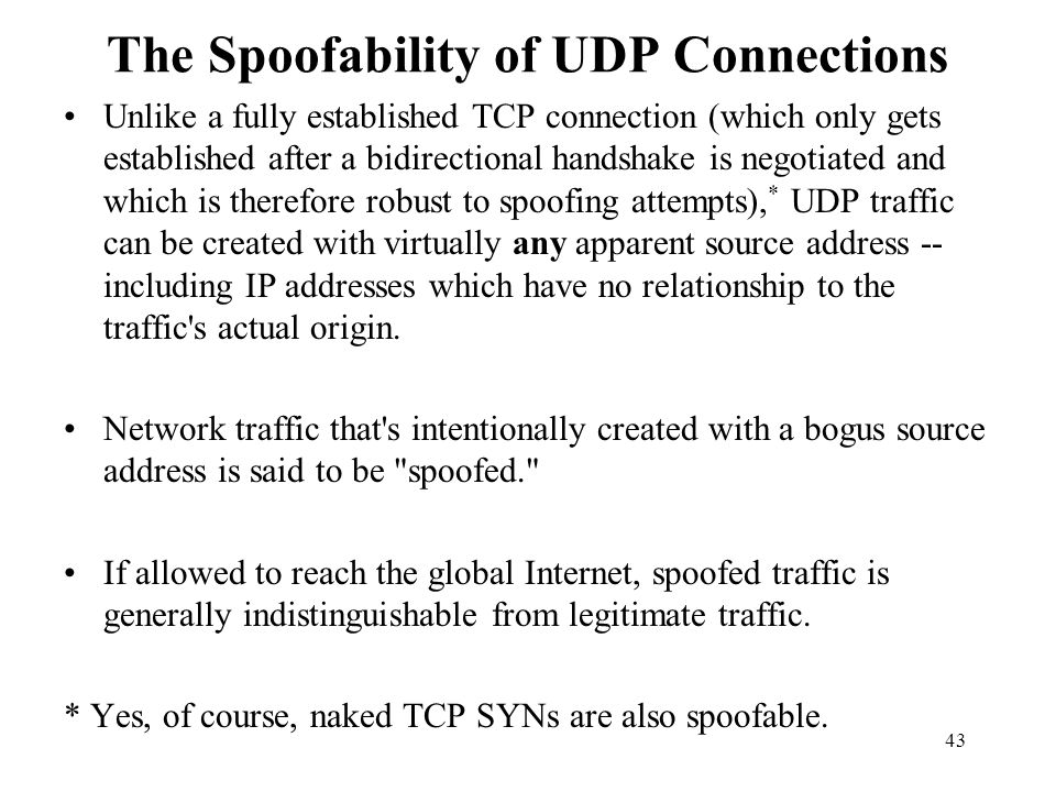 The Spoofability of UDP Connections