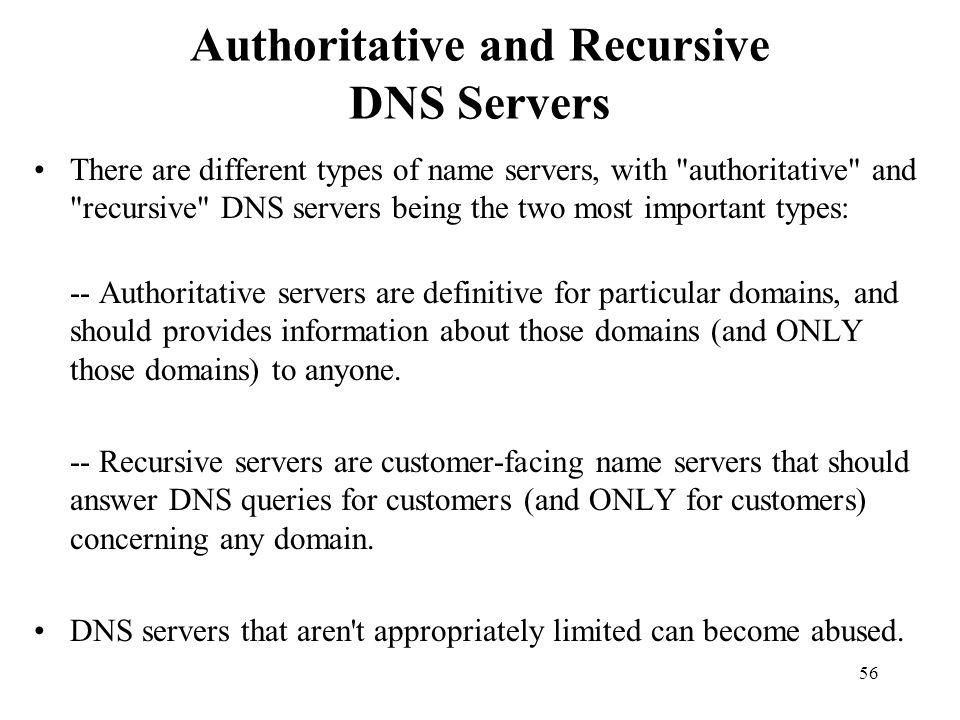 Authoritative and Recursive DNS Servers