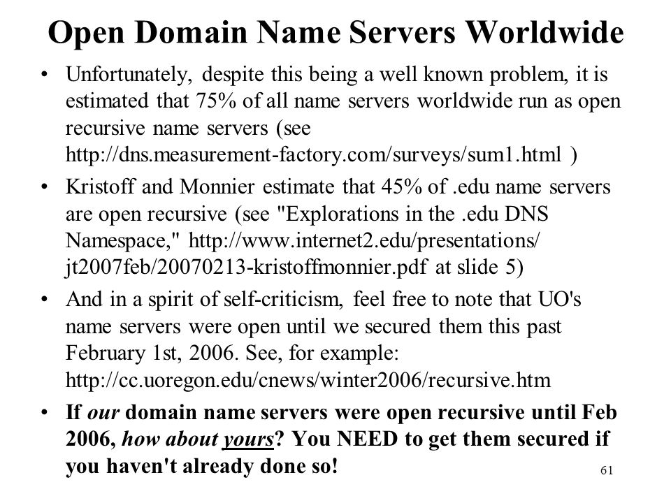 Open Domain Name Servers Worldwide