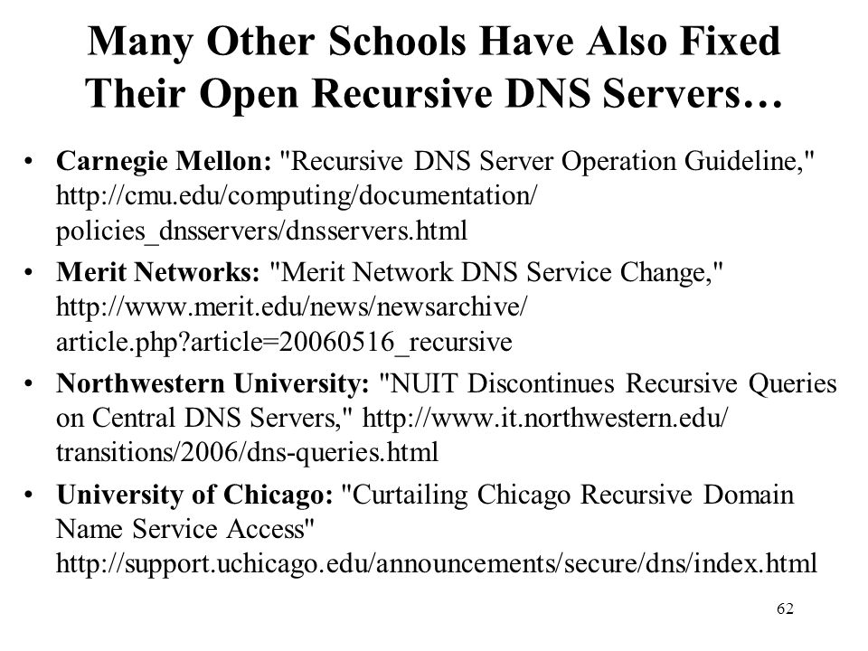 Many Other Schools Have Also Fixed Their Open Recursive DNS Servers…