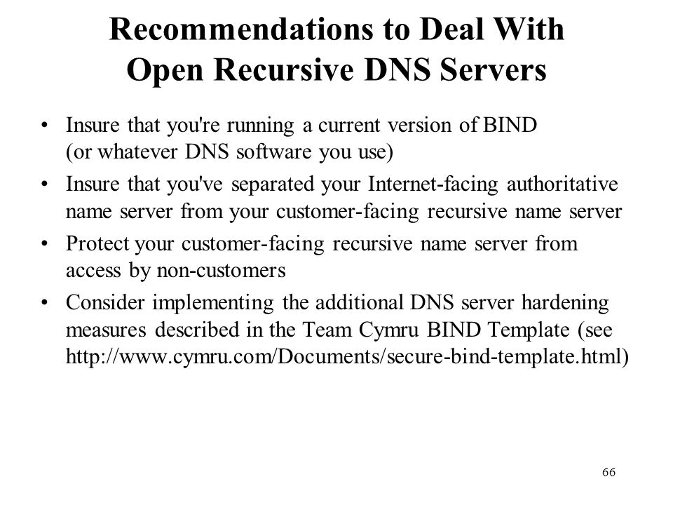 Recommendations to Deal With Open Recursive DNS Servers
