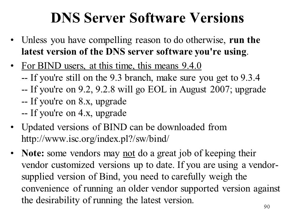 DNS Server Software Versions