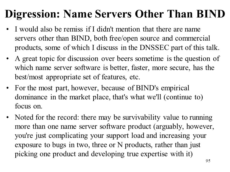 Digression: Name Servers Other Than BIND