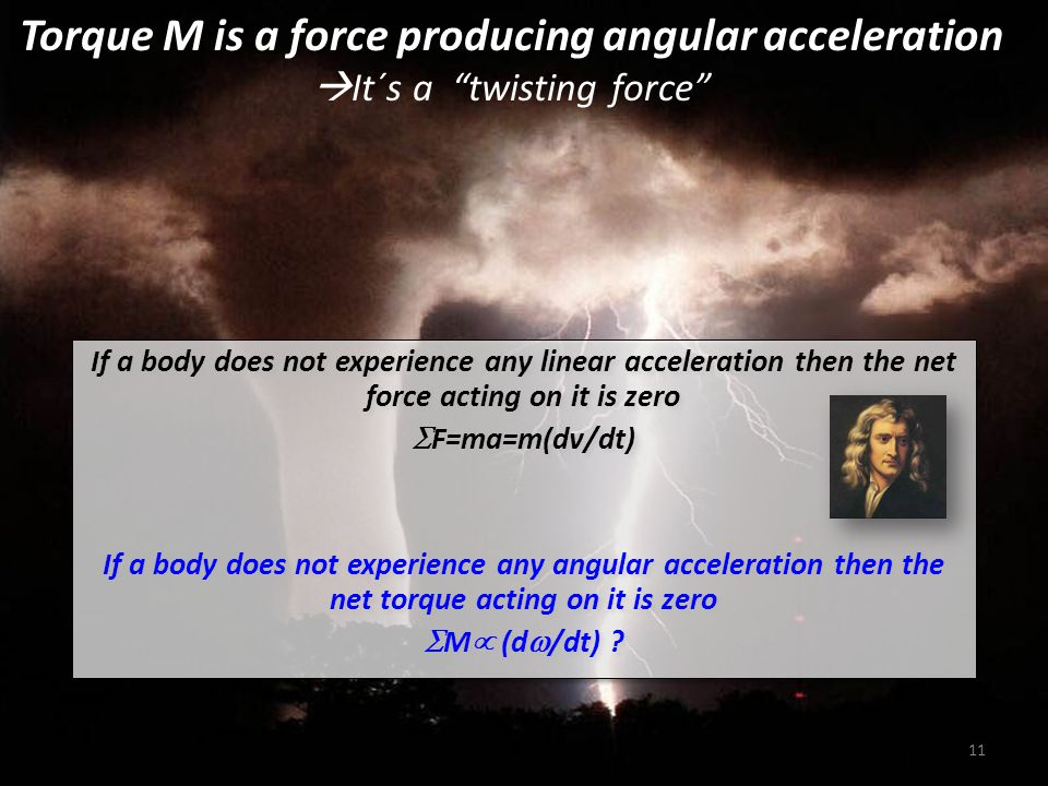 Torque M is a force producing angular acceleration It´s a twisting force