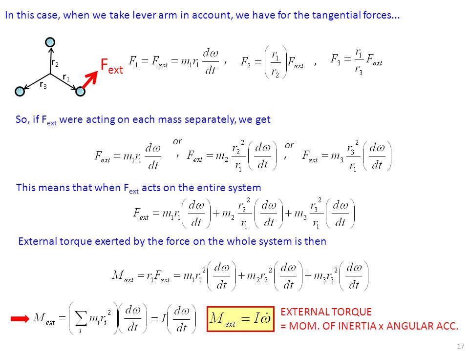 In this case, when we take lever arm in account, we have for the tangential forces...