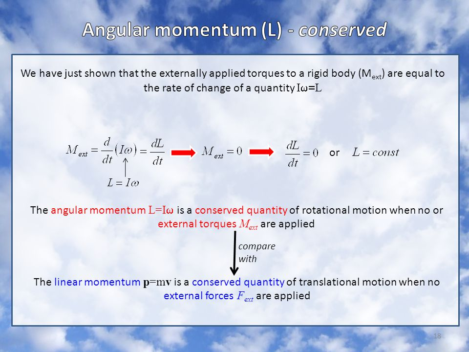 Angular momentum (L) - conserved