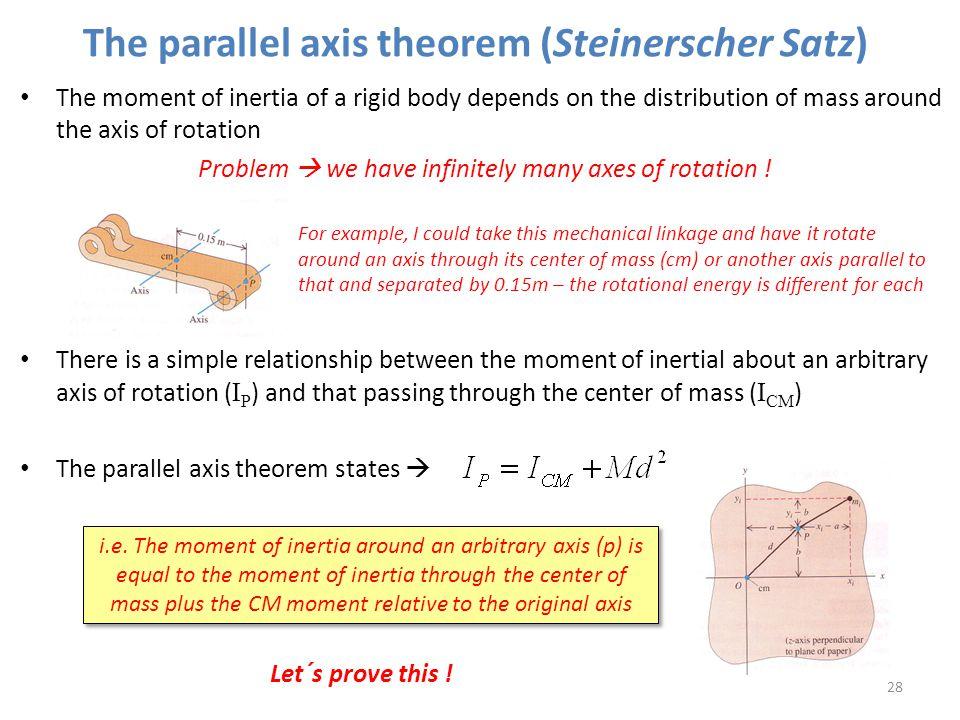 The parallel axis theorem (Steinerscher Satz)