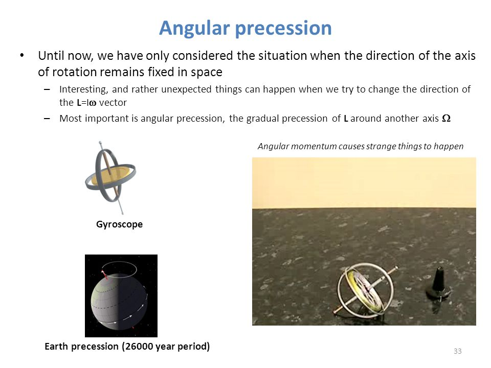 Angular precession Until now, we have only considered the situation when the direction of the axis of rotation remains fixed in space.