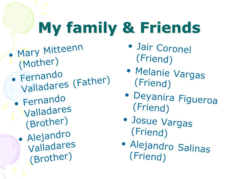 My family & Friends Mary Mitteenn (Mother) Jair Coronel (Friend)