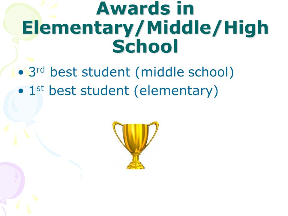 Awards in Elementary/Middle/High School