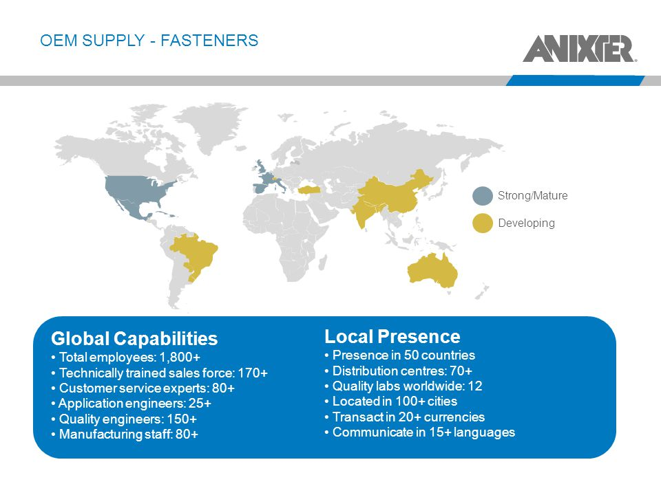 Local Presence Global Capabilities OEM SUPPLY - FASTENERS