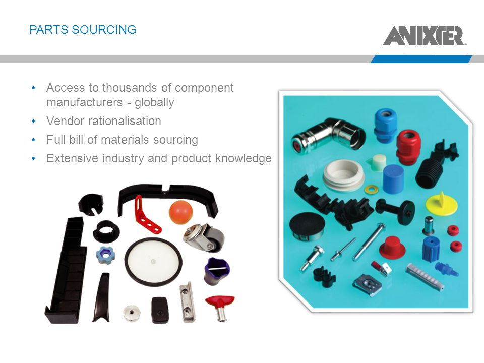 PartS Sourcing Access to thousands of component manufacturers - globally. Vendor rationalisation.