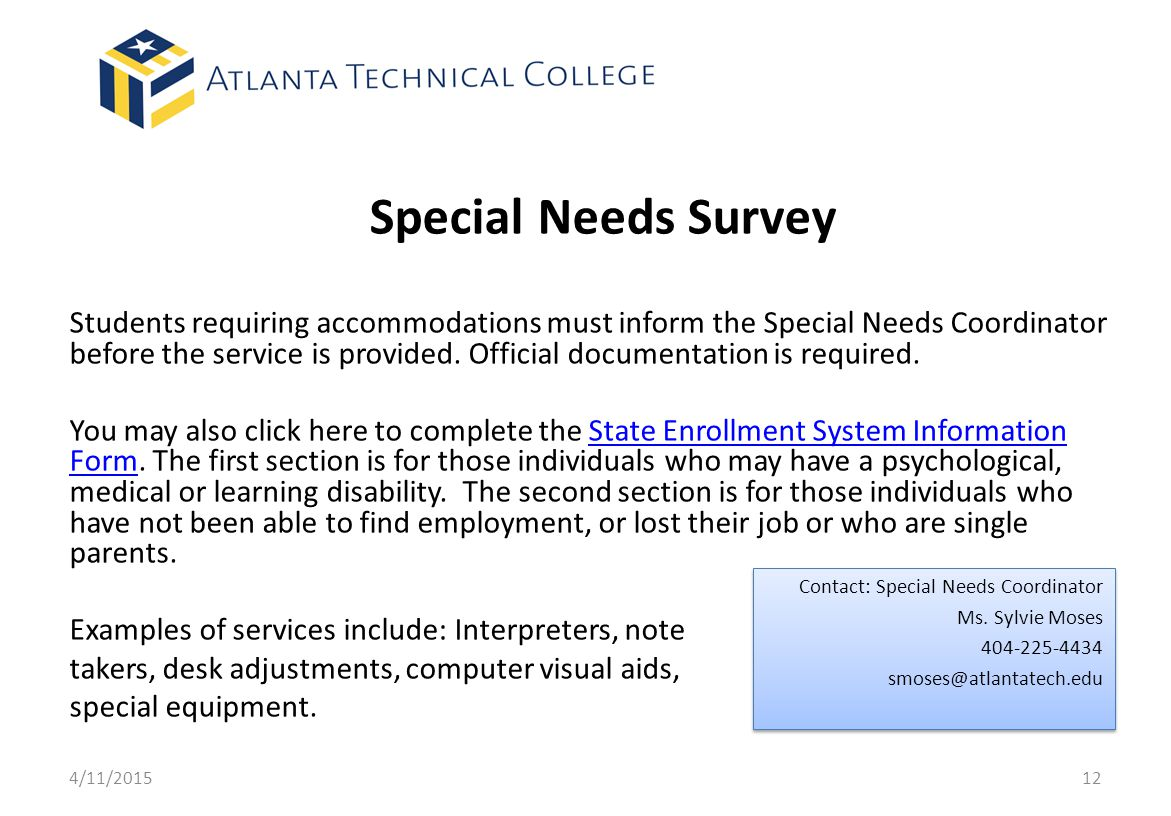 Special Needs Survey