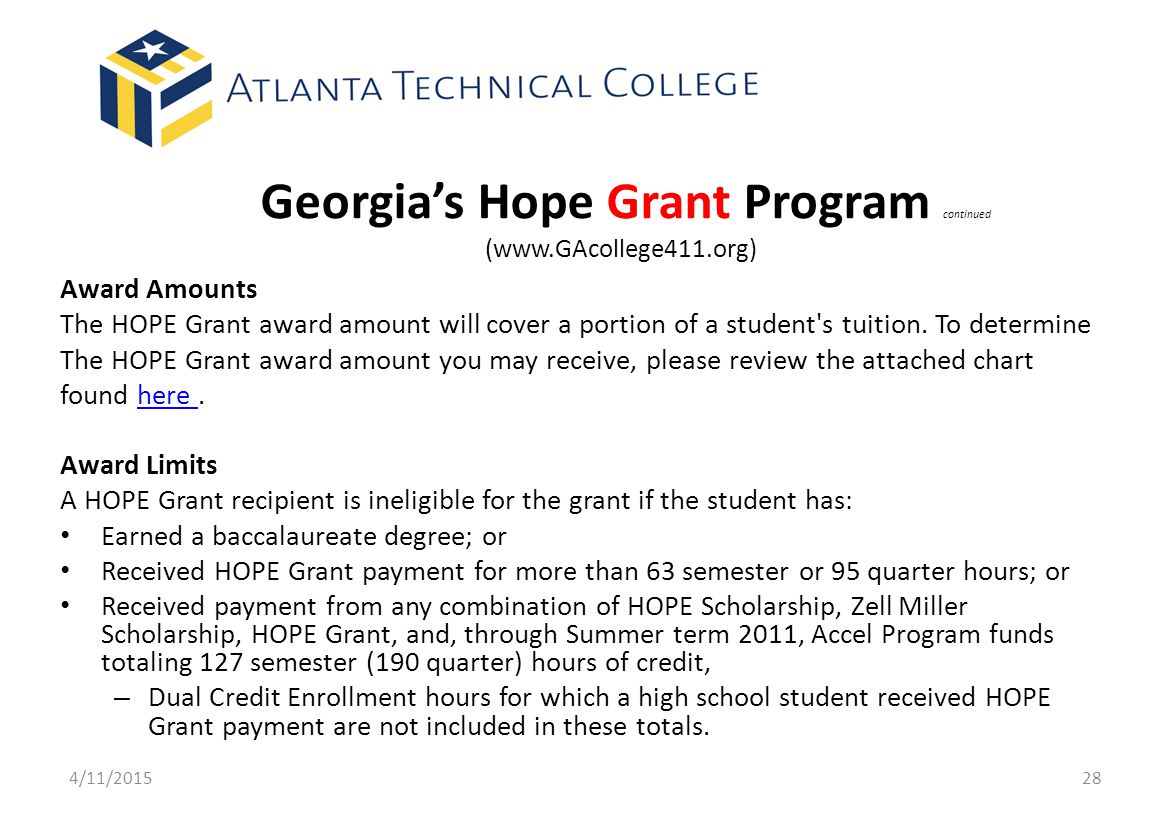 Georgia's Hope Grant Program continued (www.GAcollege411.org)