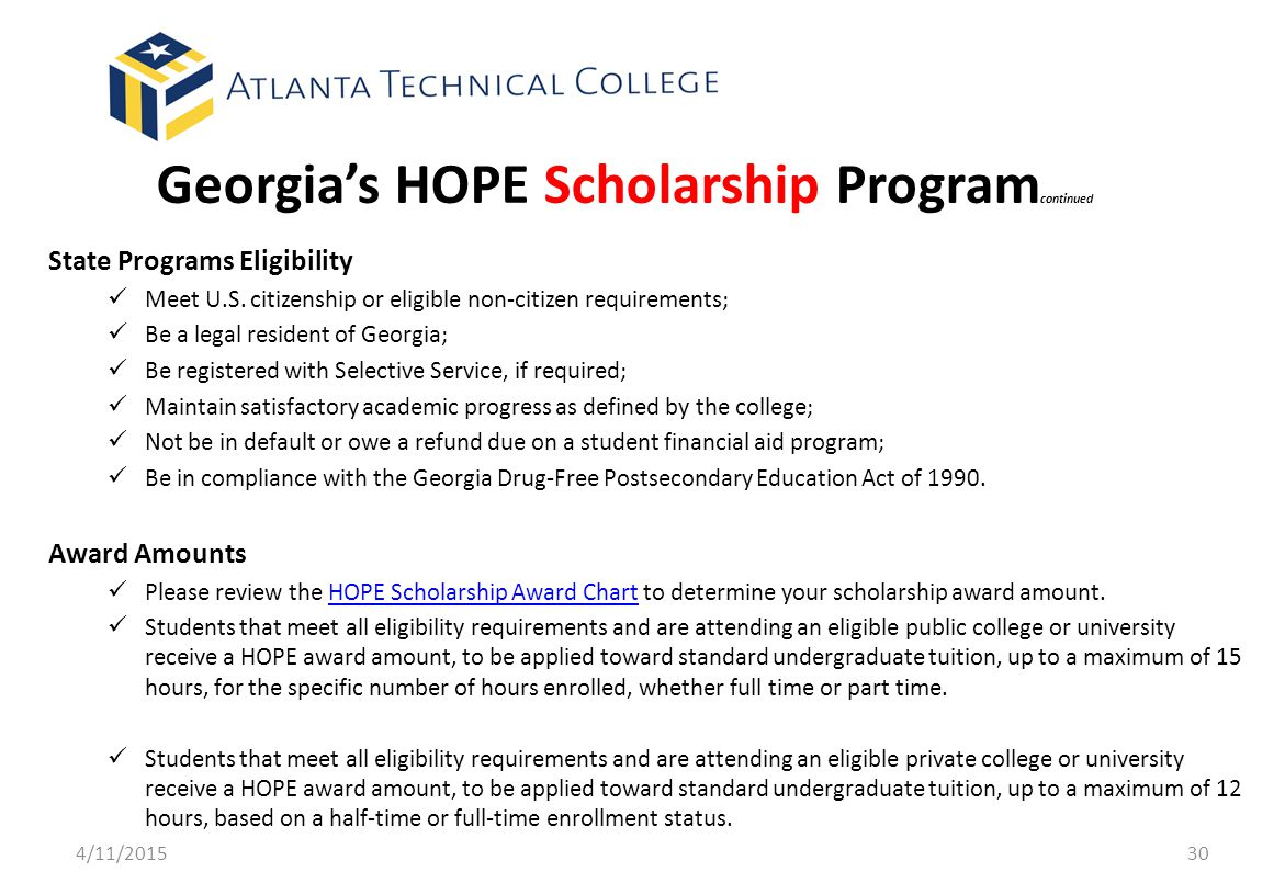 Georgia's HOPE Scholarship Programcontinued