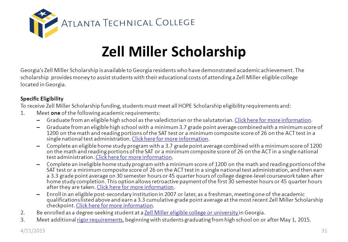 Zell Miller Scholarship