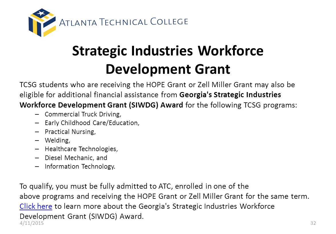 Strategic Industries Workforce Development Grant