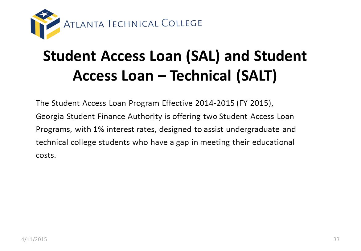 Student Access Loan (SAL) and Student Access Loan – Technical (SALT)