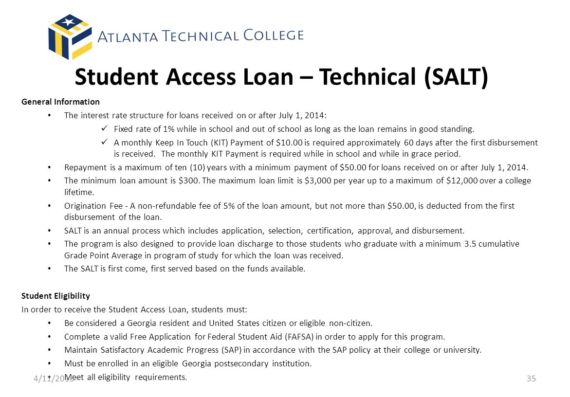 Student Access Loan – Technical (SALT)