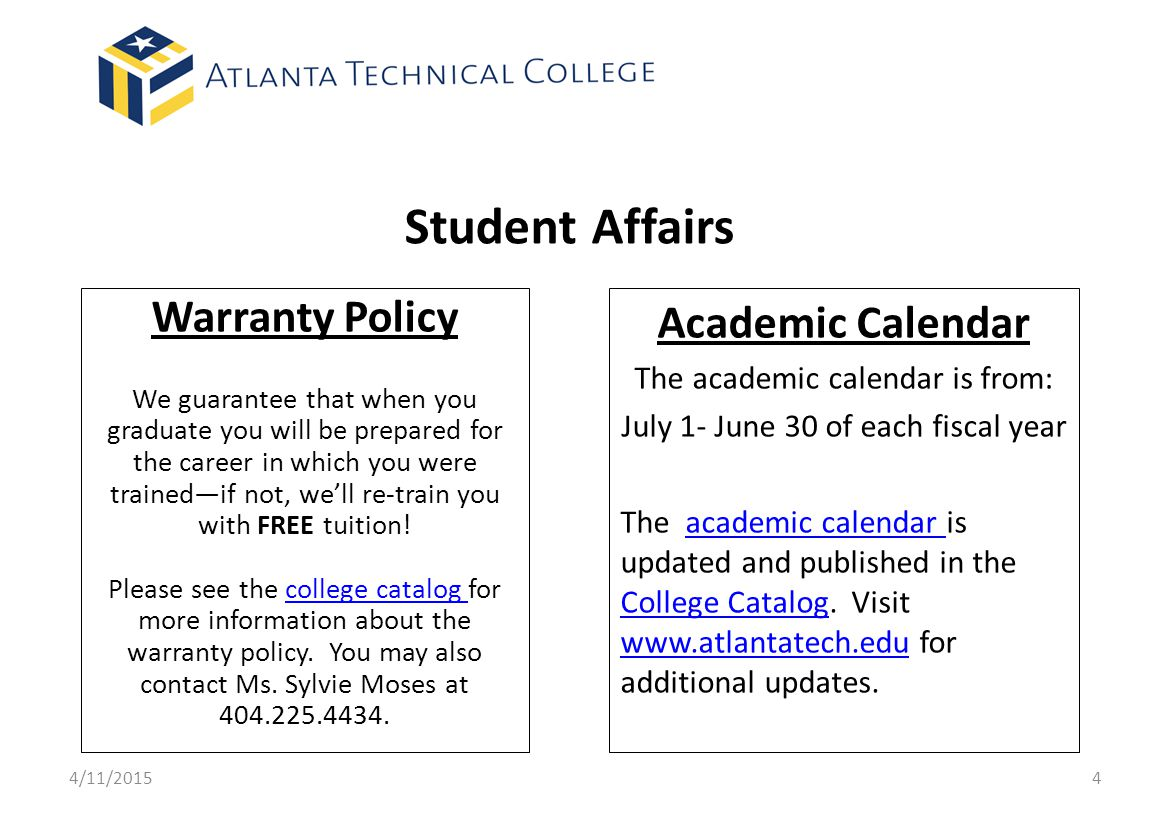 Student Affairs Warranty Policy Academic Calendar