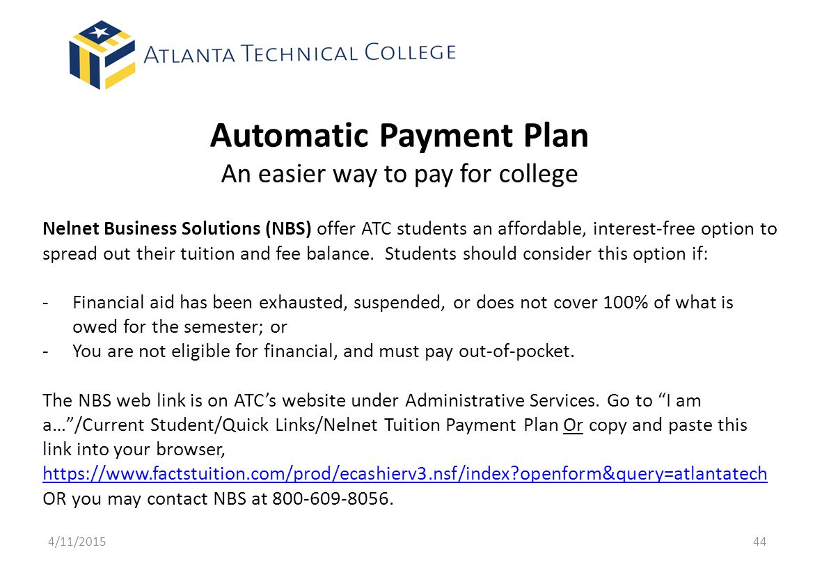 Automatic Payment Plan An easier way to pay for college