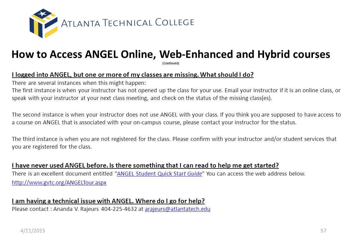 How to Access ANGEL Online, Web-Enhanced and Hybrid courses (Continued)