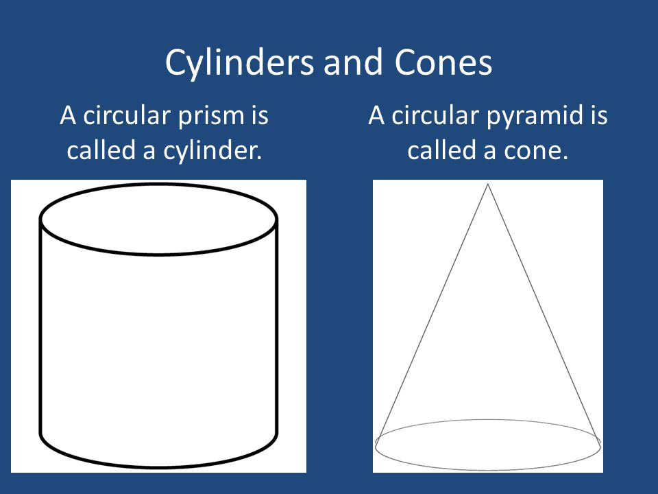 Cylinders and Cones A circular prism is called a cylinder.