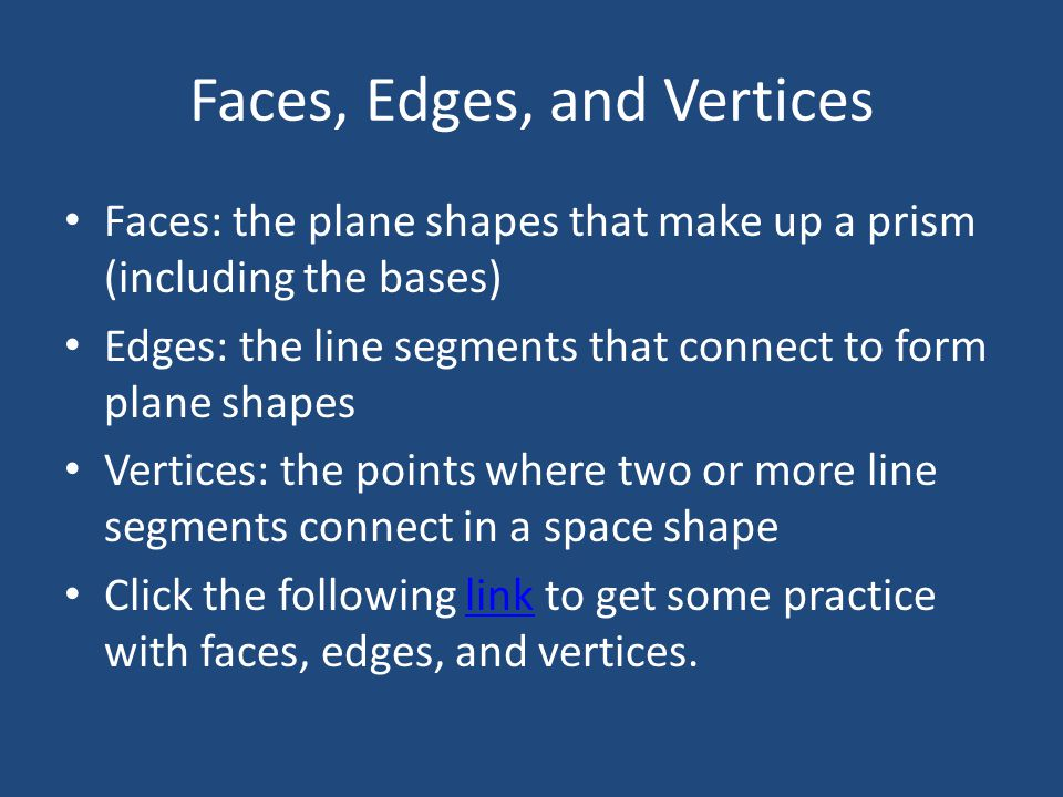 Faces, Edges, and Vertices