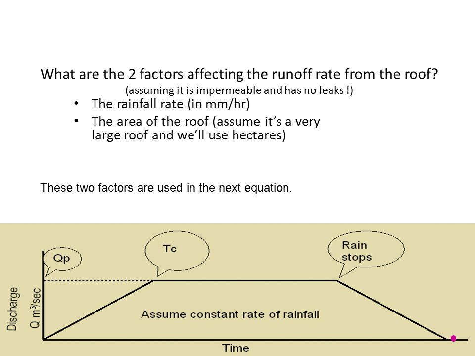 What are the 2 factors affecting the runoff rate from the roof