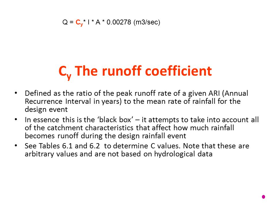 Cy The runoff coefficient