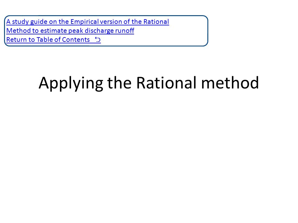Applying the Rational method