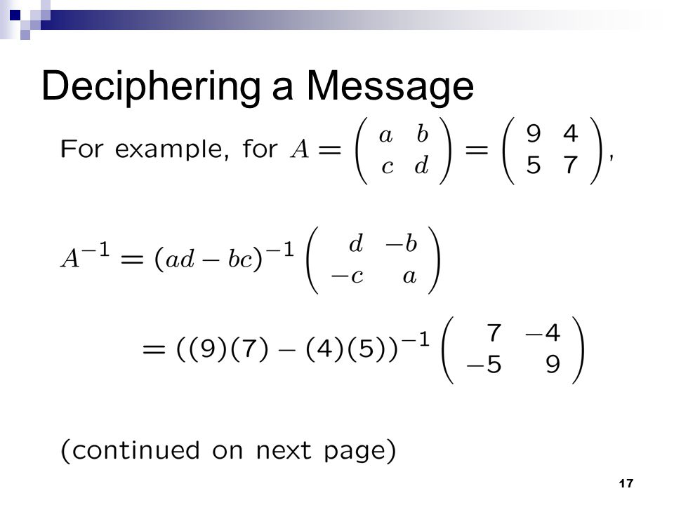 Deciphering a Message