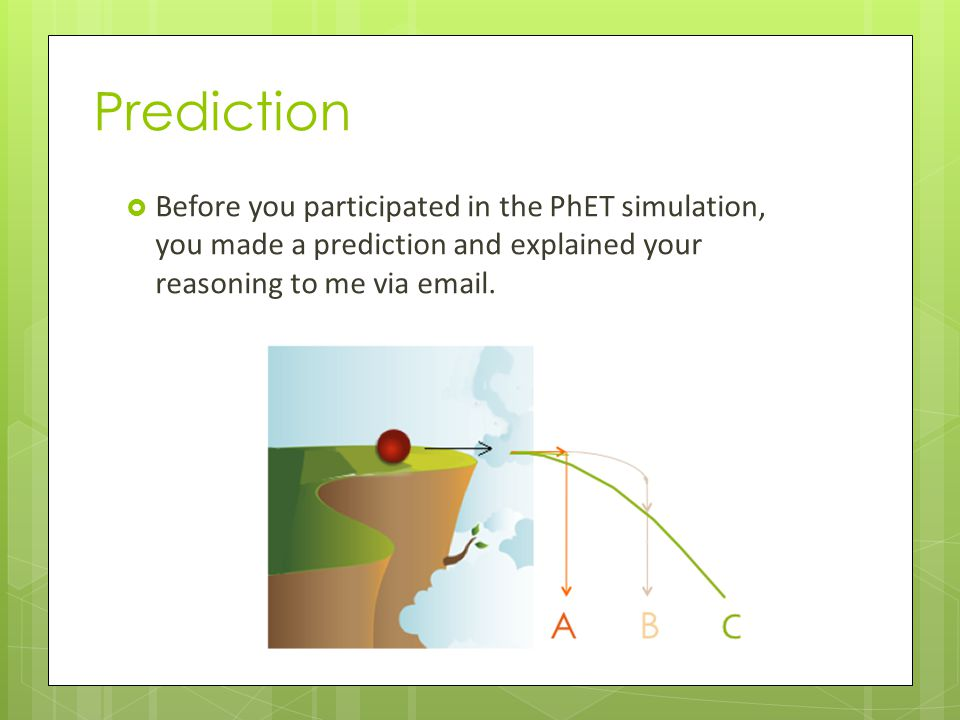 Prediction Before you participated in the PhET simulation, you made a prediction and explained your reasoning to me via email.