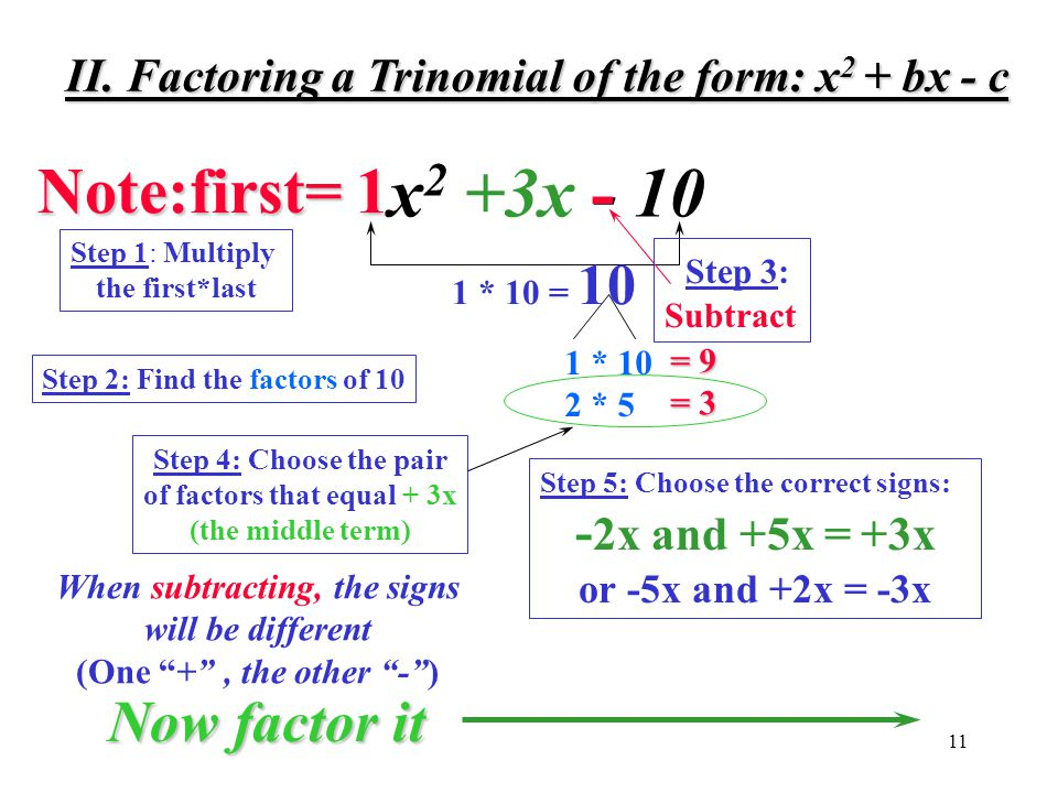 x2 +3x - 10 - Note:first= 1 Now factor it -2x and +5x = +3x