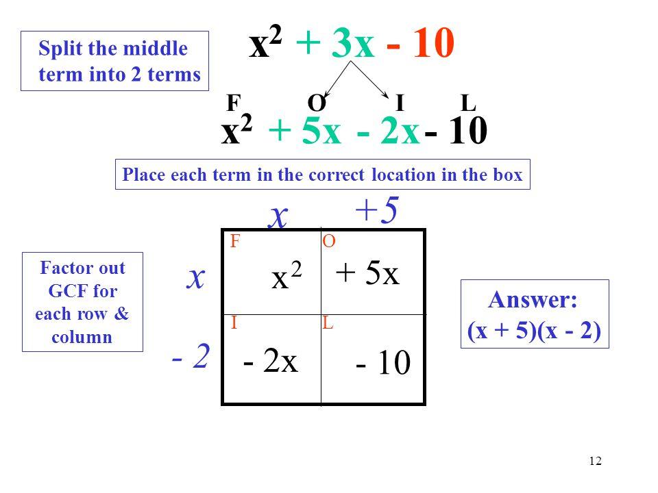 Factor out GCF for each row & column
