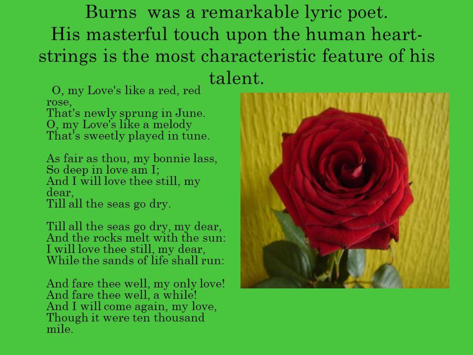 Burns was a remarkable lyric poet