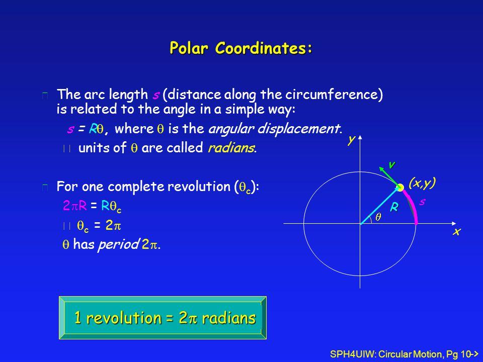 Polar Coordinates: 1 revolution = 2p radians