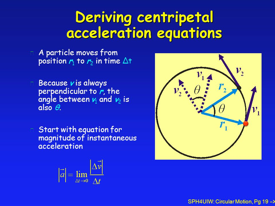 Deriving centripetal acceleration equations