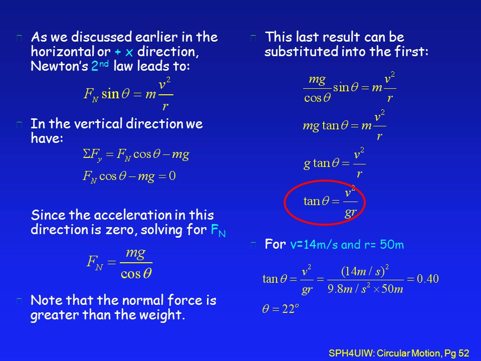 As we discussed earlier in the horizontal or + x direction, Newton's 2nd law leads to: