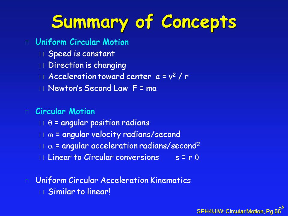 Summary of Concepts Uniform Circular Motion Speed is constant