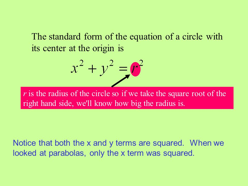 The standard form of the equation of a circle with its center at the origin is