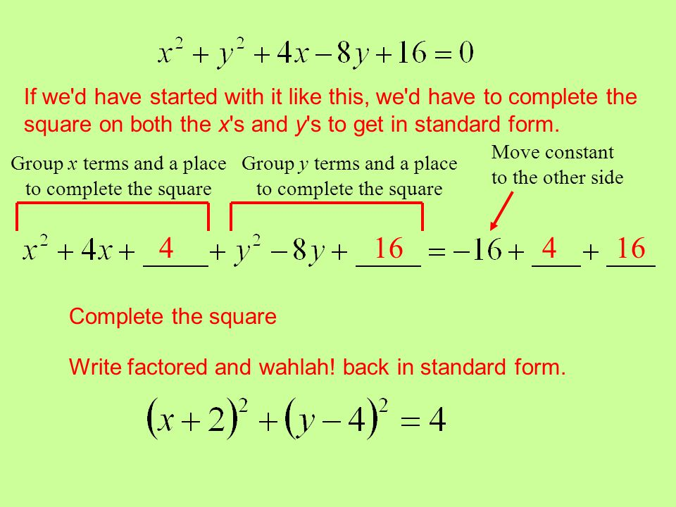 If we d have started with it like this, we d have to complete the square on both the x s and y s to get in standard form.