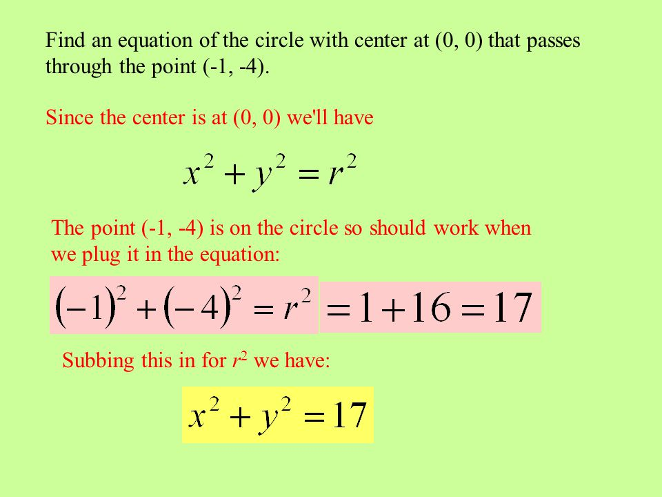 Find an equation of the circle with center at (0, 0) that passes through the point (-1, -4).