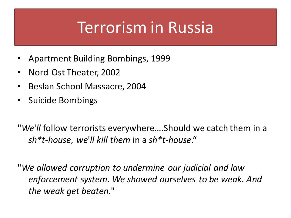 Terrorism in Russia Apartment Building Bombings, 1999
