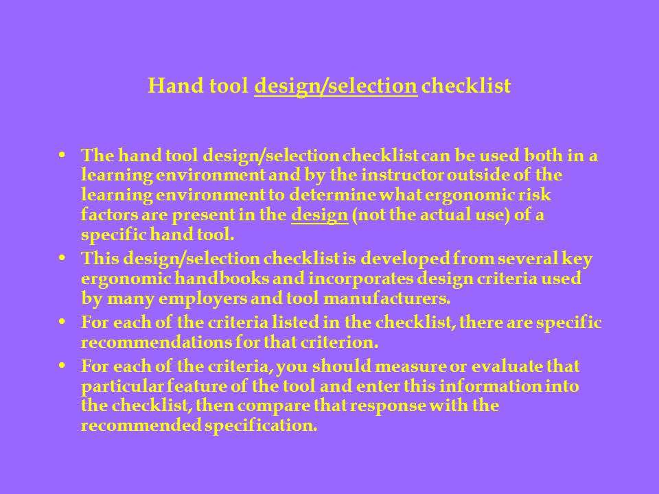 Hand tool design/selection checklist