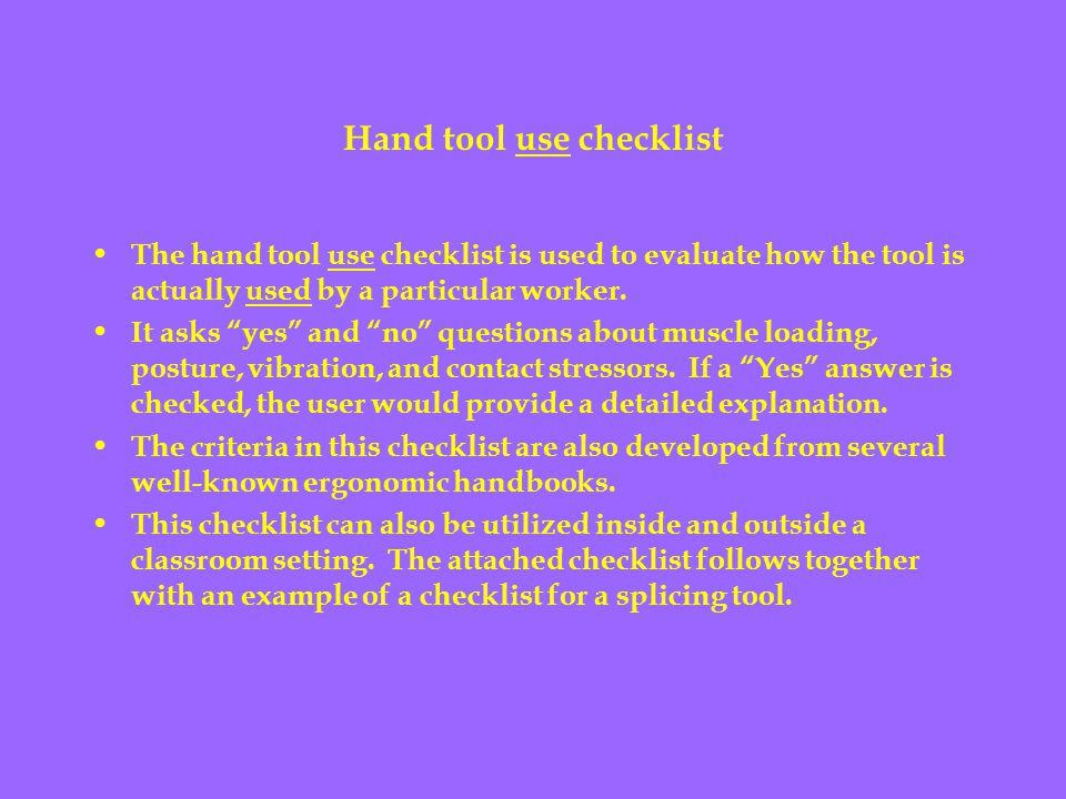 Hand tool use checklist