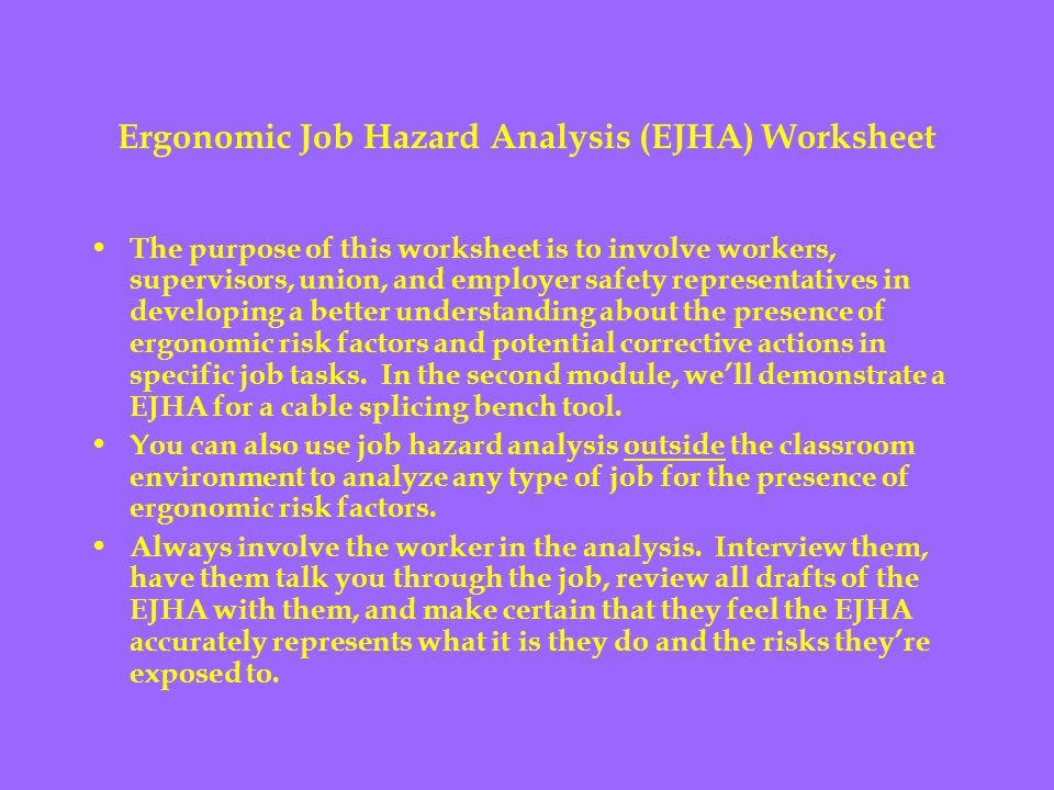 Ergonomic Job Hazard Analysis (EJHA) Worksheet